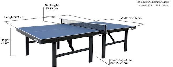 Size Of Ping Pong Table